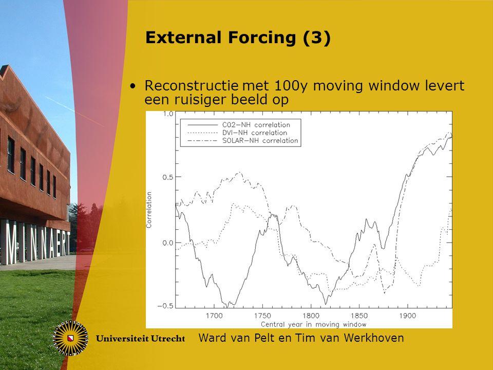 Reconstructie met 100y moving window levert een ruisiger beeld op External Forcing (3) Ward van Pelt en Tim van Werkhoven