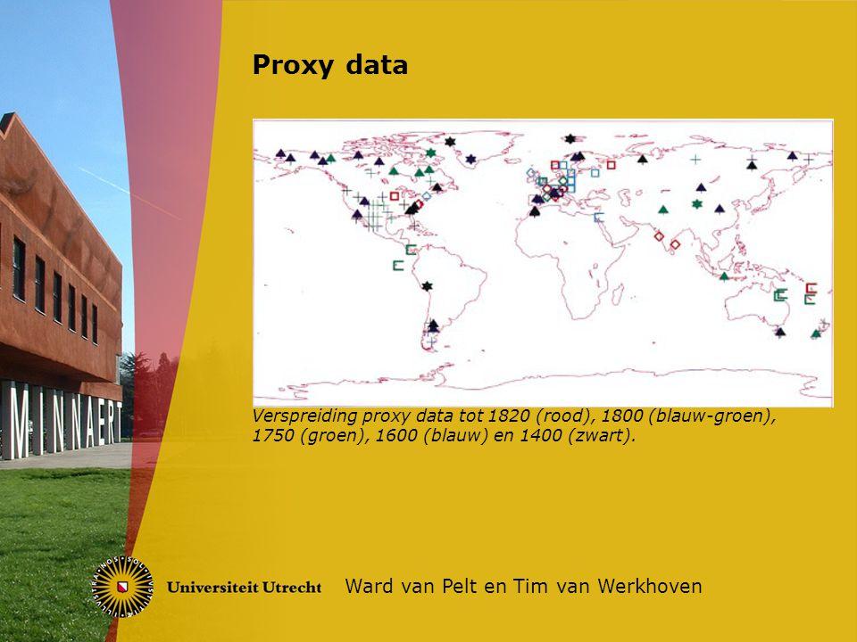 Proxy data Ward van Pelt en Tim van Werkhoven Verspreiding proxy data tot 1820 (rood), 1800 (blauw-groen), 1750 (groen), 1600 (blauw) en 1400 (zwart).