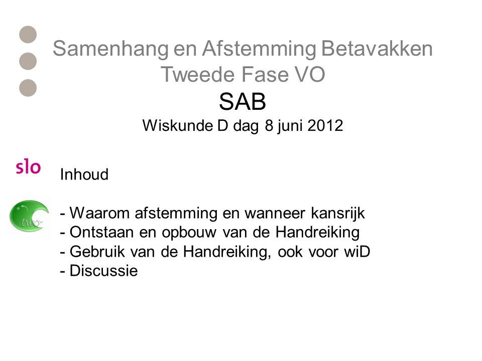 SAB Tweede Fase VO Opbouw Handreiking Deel B: Samen in gesprek Welke afspraken kunnen er gemaakt worden.