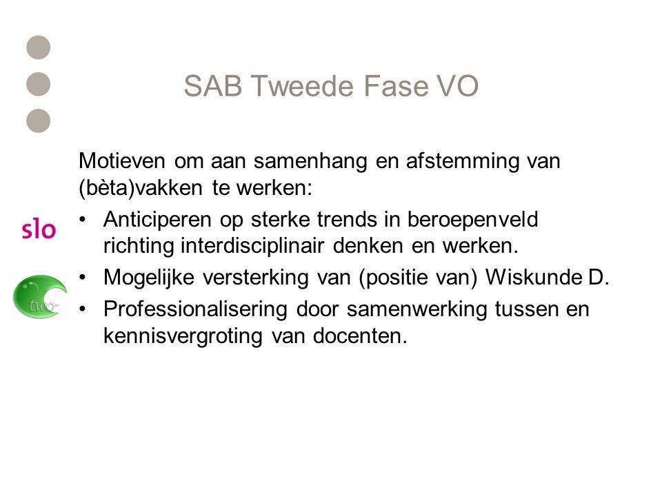 SAB Tweede Fase VO Motieven om aan samenhang en afstemming van (bèta)vakken te werken: Anticiperen op sterke trends in beroepenveld richting interdisciplinair denken en werken.