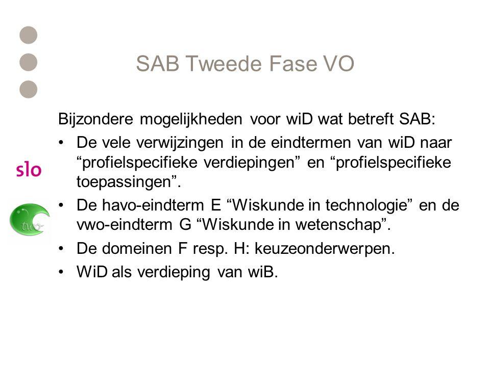 """SAB Tweede Fase VO Bijzondere mogelijkheden voor wiD wat betreft SAB: De vele verwijzingen in de eindtermen van wiD naar """"profielspecifieke verdieping"""