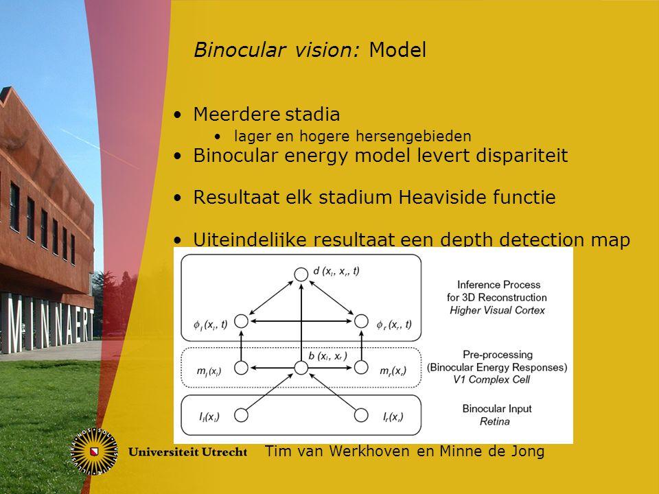 Meerdere stadia lager en hogere hersengebieden Binocular energy model levert dispariteit Resultaat elk stadium Heaviside functie Uiteindelijke resulta