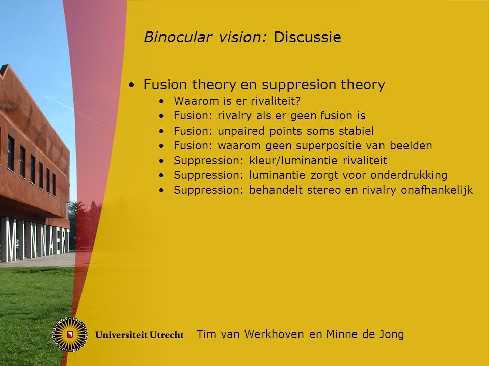 Fusion theory en suppresion theory Waarom is er rivaliteit.