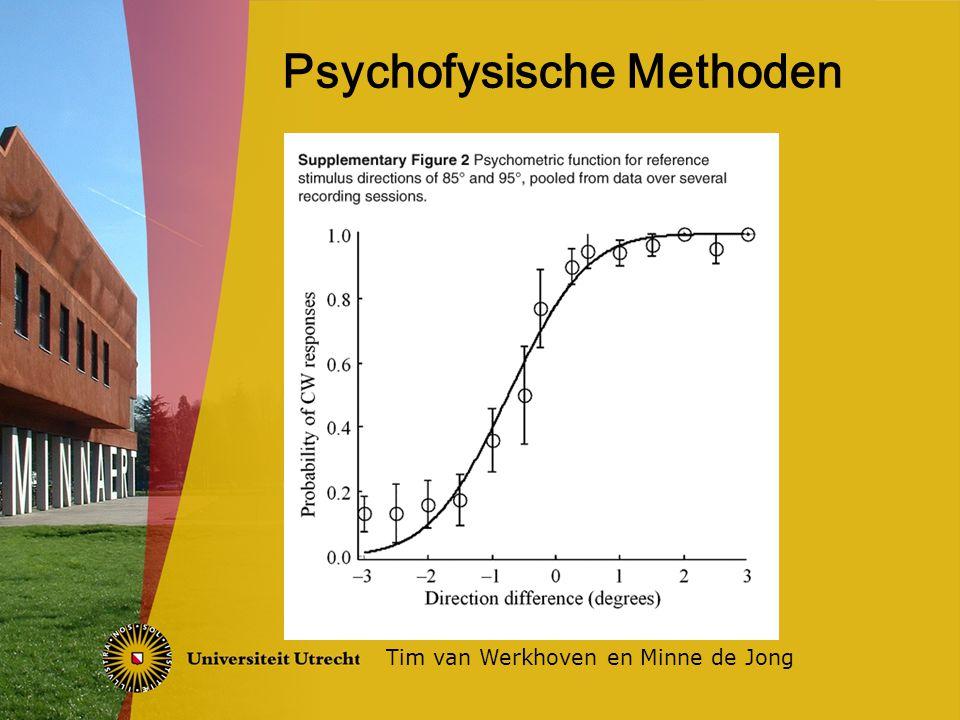 Methode van aanpassen subject zelf intensiteit laten aanpassen Methode van limieten ladder-methode Methode van constante stimuli willekeurige intensiteit Probleem -> Hysteresis Tim van Werkhoven en Minne de Jong Meten van drempelwaarden