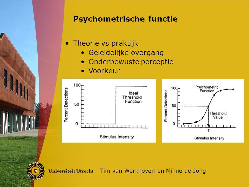 Klassiek geen voorkeur, SDT 2-traps Sensorisch proces (onverstoorbaar, met ruis) Beslissings proces (situatie-afhankelijk) Signal Detection Theory (SDT) Tim van Werkhoven en Minne de Jong