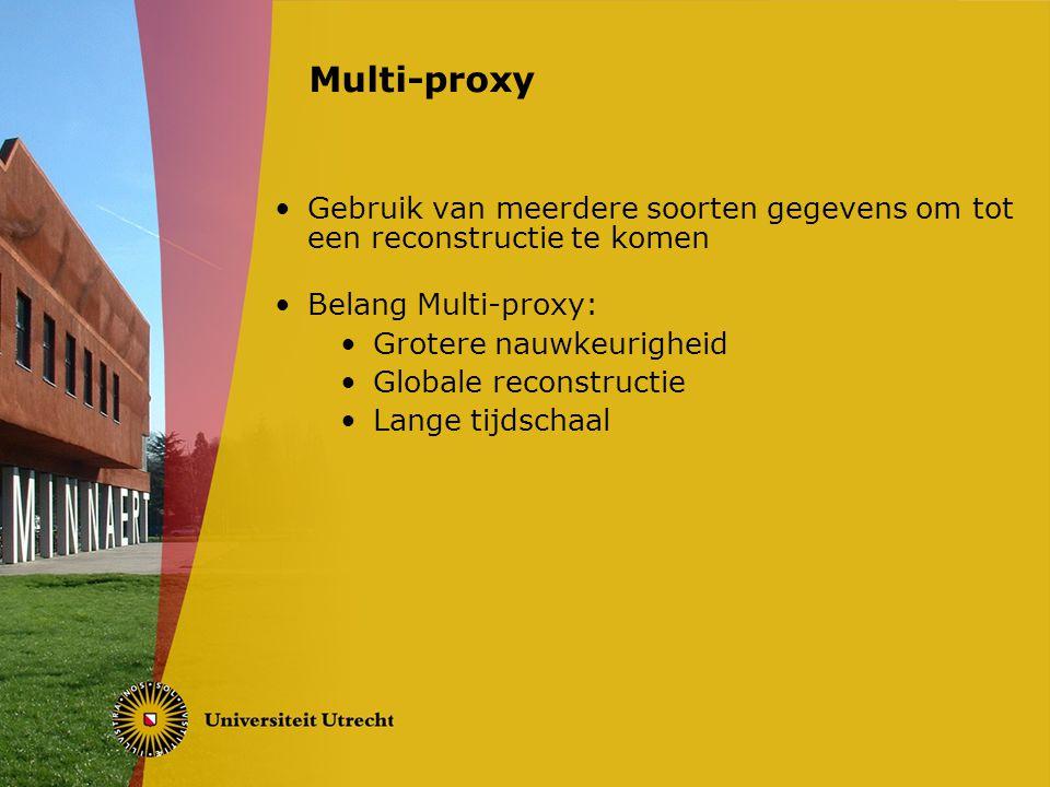 Gebruik van meerdere soorten gegevens om tot een reconstructie te komen Belang Multi-proxy: Grotere nauwkeurigheid Globale reconstructie Lange tijdschaal Multi-proxy