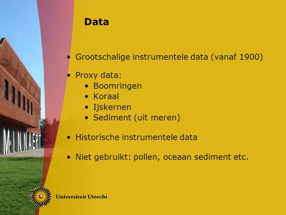Grootschalige instrumentele data (vanaf 1900) Proxy data: Boomringen Koraal Ijskernen Sediment (uit meren) Historische instrumentele data Niet gebruikt: pollen, oceaan sediment etc.