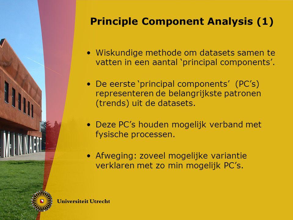 Methode (algemeen): Verzamel data Haal het gemiddelde eraf Stel de covariantiematrix op Bepaal de eigenvectoren/eigenwaarden Kies de PC's uit die je wilt behouden Maak een nieuwe dataset met de gekozen eigenvectoren Principal Component Analysis (2)