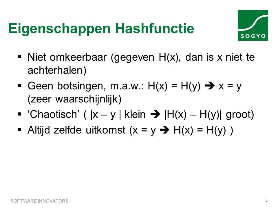  Niet omkeerbaar (gegeven H(x), dan is x niet te achterhalen)  Geen botsingen, m.a.w.: H(x) = H(y)  x = y (zeer waarschijnlijk)  'Chaotisch' ( |x