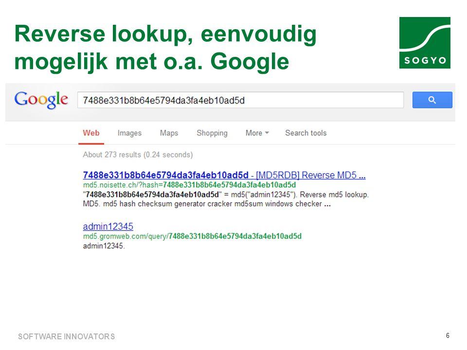 Reverse lookup, eenvoudig mogelijk met o.a. Google 6 SOFTWARE INNOVATORS