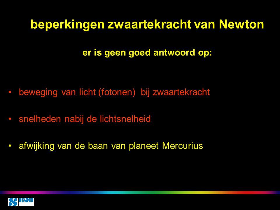 beperkingen zwaartekracht van Newton er is geen goed antwoord op: beweging van licht (fotonen) bij zwaartekracht snelheden nabij de lichtsnelheid afwi