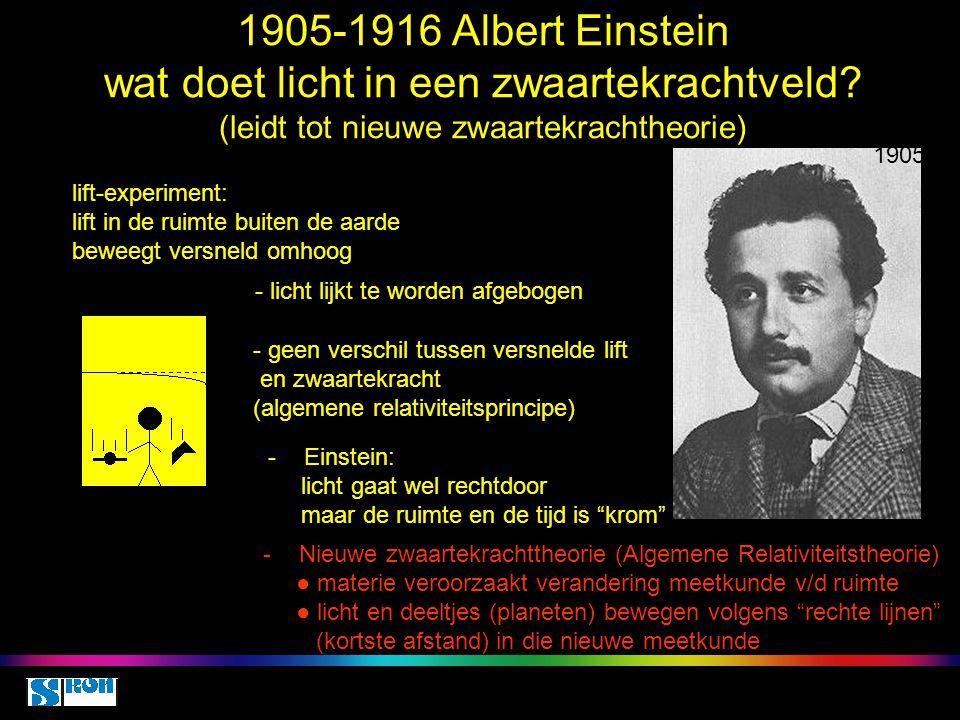 1905-1916 Albert Einstein wat doet licht in een zwaartekrachtveld? (leidt tot nieuwe zwaartekrachtheorie) 1905 lift-experiment: lift in de ruimte buit