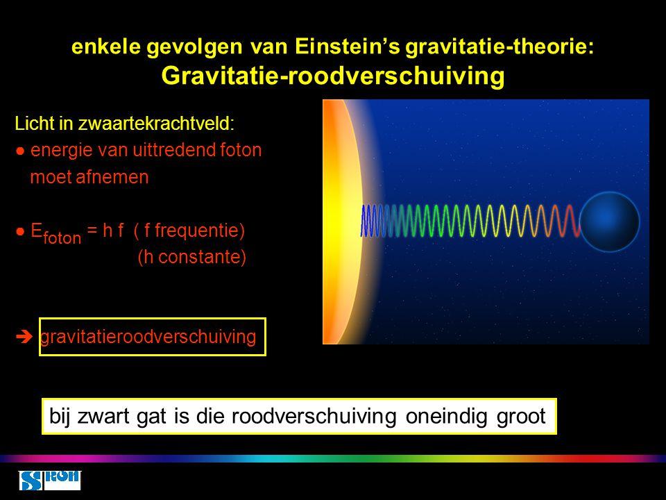 enkele gevolgen van Einstein's gravitatie-theorie: Gravitatie-roodverschuiving Licht in zwaartekrachtveld: ● energie van uittredend foton moet afnemen