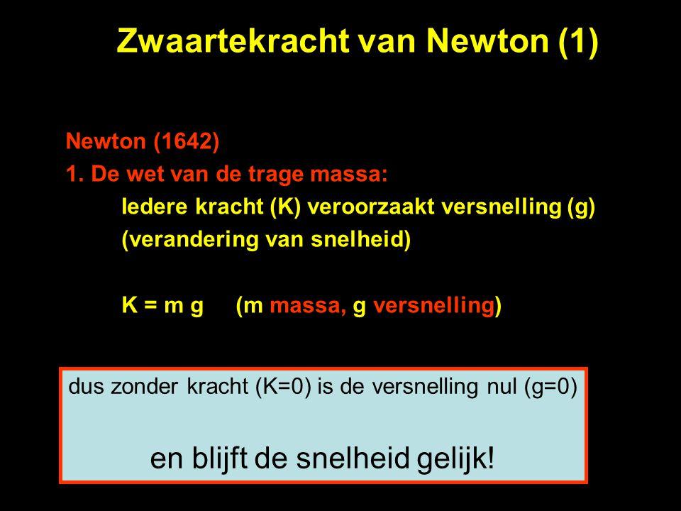 Zwaartekracht van Newton (1) Newton (1642) 1.De wet van de trage massa: Iedere kracht (K) veroorzaakt versnelling (g) (verandering van snelheid) K = m