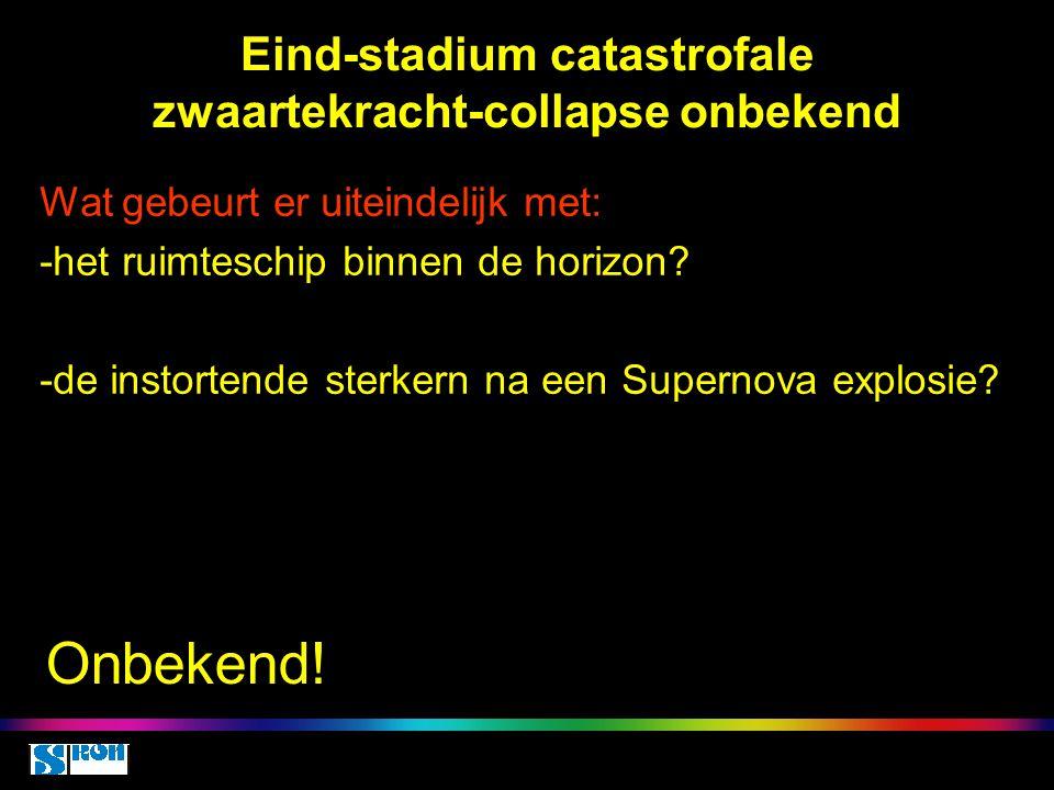 Eind-stadium catastrofale zwaartekracht-collapse onbekend Wat gebeurt er uiteindelijk met: -het ruimteschip binnen de horizon? -de instortende sterker