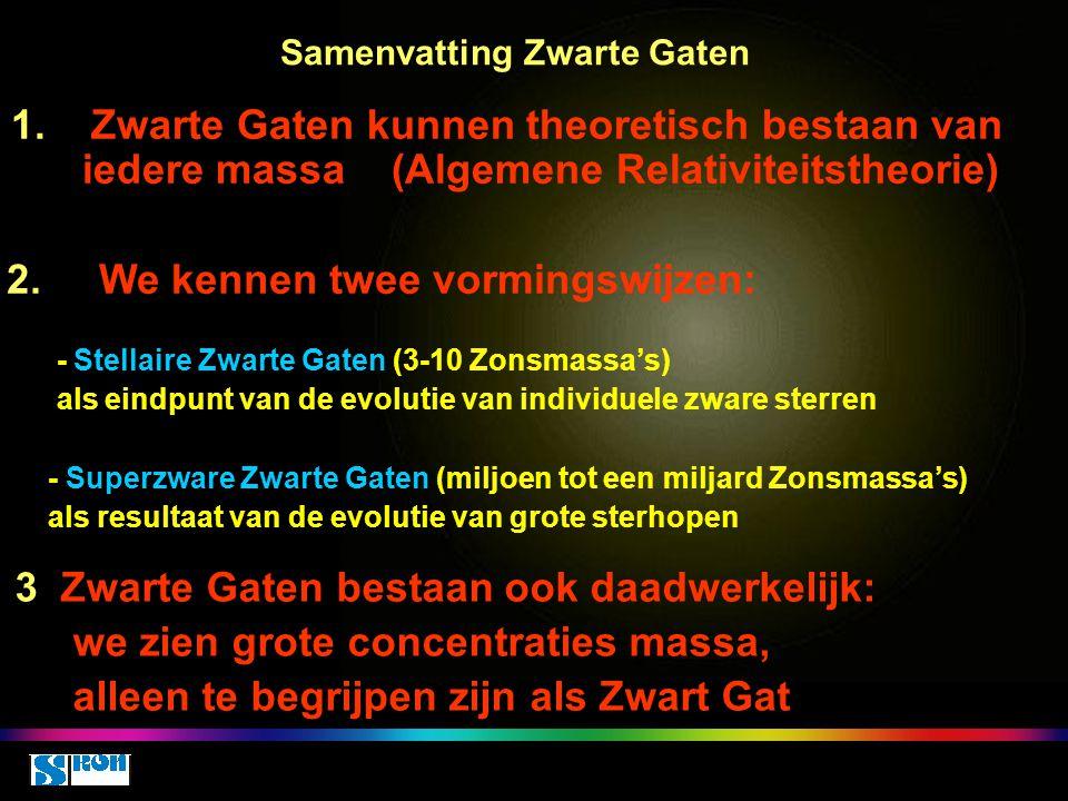 Samenvatting Zwarte Gaten 1. Zwarte Gaten kunnen theoretisch bestaan van iedere massa (Algemene Relativiteitstheorie) 2. We kennen twee vormingswijzen