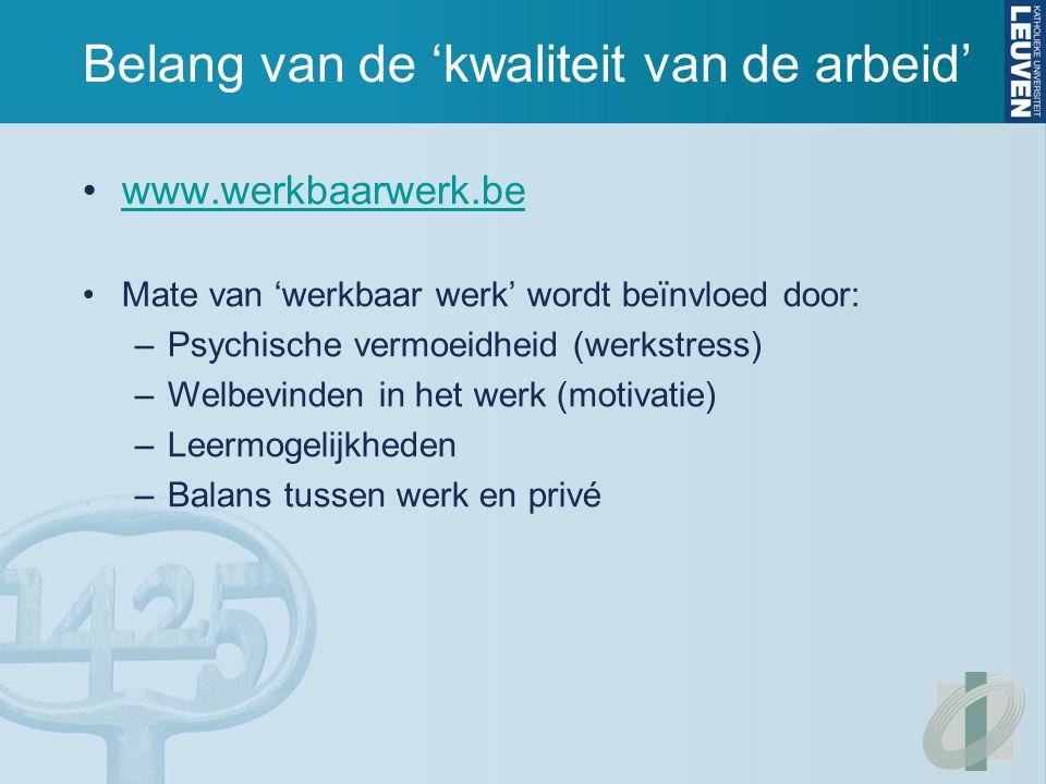 Belang van de 'kwaliteit van de arbeid' www.werkbaarwerk.be Mate van 'werkbaar werk' wordt beïnvloed door: –Psychische vermoeidheid (werkstress) –Welbevinden in het werk (motivatie) –Leermogelijkheden –Balans tussen werk en privé