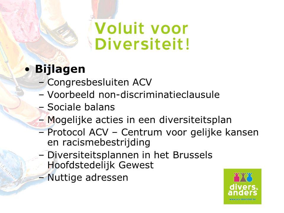 Bijlagen –Congresbesluiten ACV –Voorbeeld non-discriminatieclausule –Sociale balans –Mogelijke acties in een diversiteitsplan –Protocol ACV – Centrum voor gelijke kansen en racismebestrijding –Diversiteitsplannen in het Brussels Hoofdstedelijk Gewest –Nuttige adressen