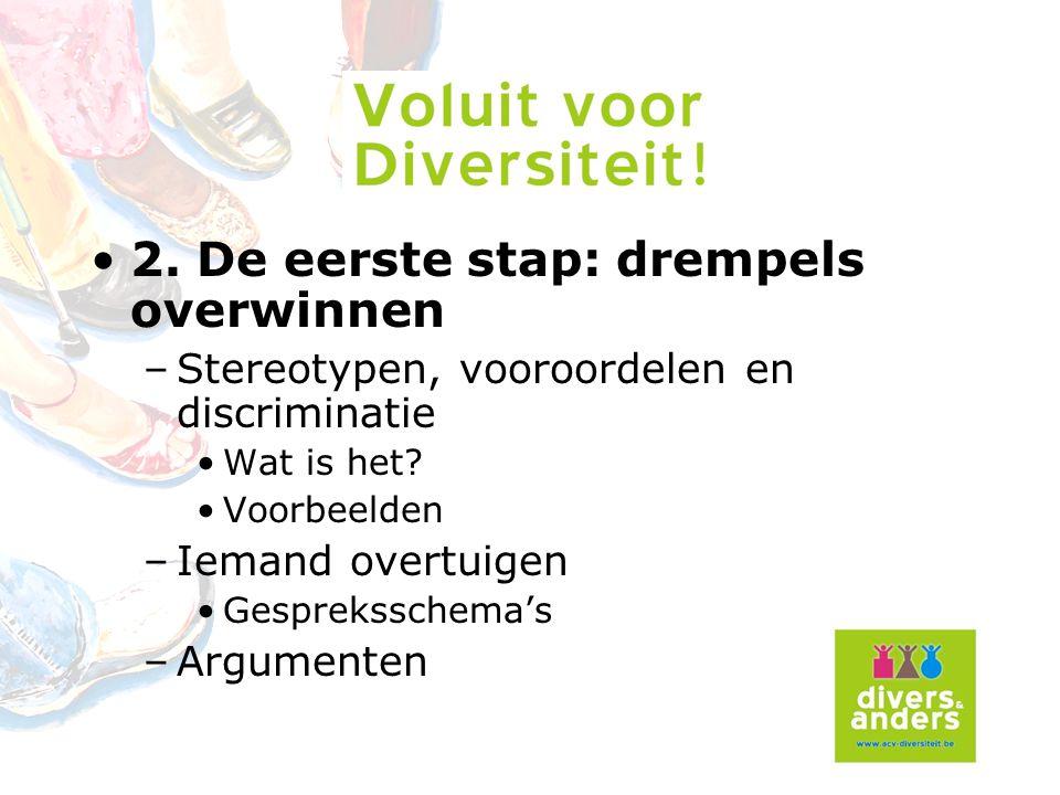 2.De eerste stap: drempels overwinnen –Stereotypen, vooroordelen en discriminatie Wat is het.