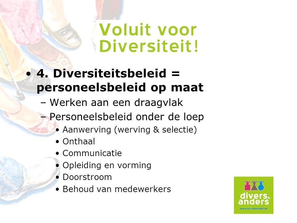 4. Diversiteitsbeleid = personeelsbeleid op maat –Werken aan een draagvlak –Personeelsbeleid onder de loep Aanwerving (werving & selectie) Onthaal Com