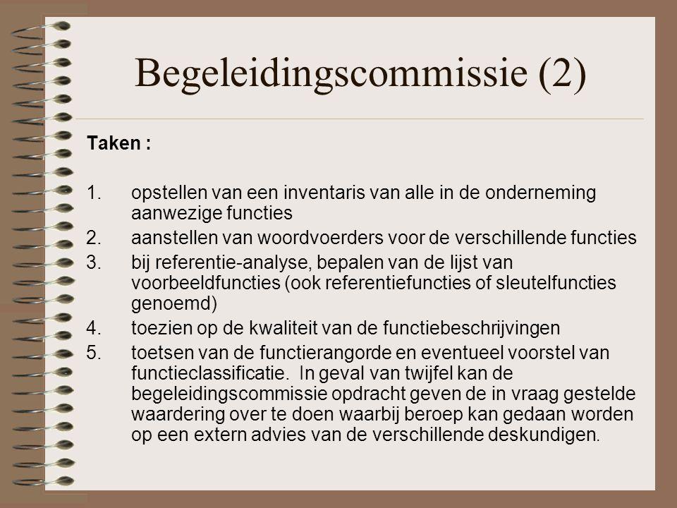 Begeleidingscommissie (2) Taken : 1.opstellen van een inventaris van alle in de onderneming aanwezige functies 2.aanstellen van woordvoerders voor de