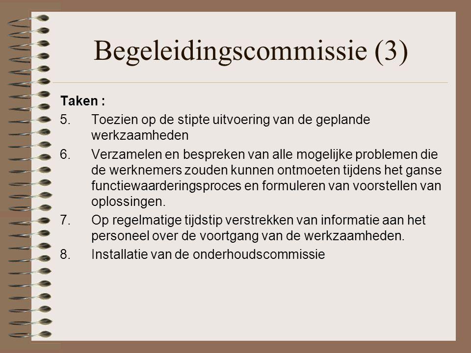 Begeleidingscommissie (3) Taken : 5. Toezien op de stipte uitvoering van de geplande werkzaamheden 6.Verzamelen en bespreken van alle mogelijke proble