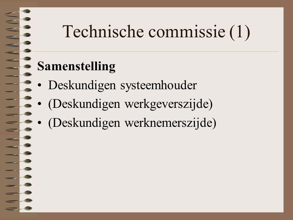 Technische commissie (1) Samenstelling Deskundigen systeemhouder (Deskundigen werkgeverszijde) (Deskundigen werknemerszijde)