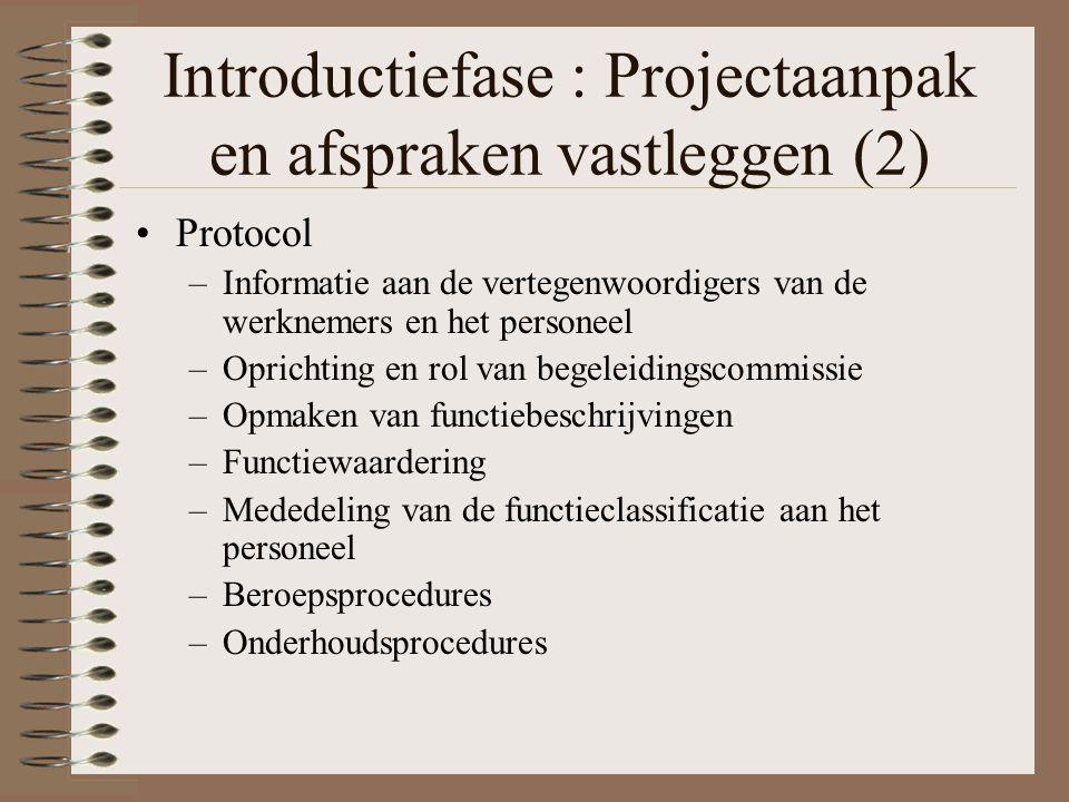 Introductiefase : Projectaanpak en afspraken vastleggen (2) Protocol –Informatie aan de vertegenwoordigers van de werknemers en het personeel –Opricht