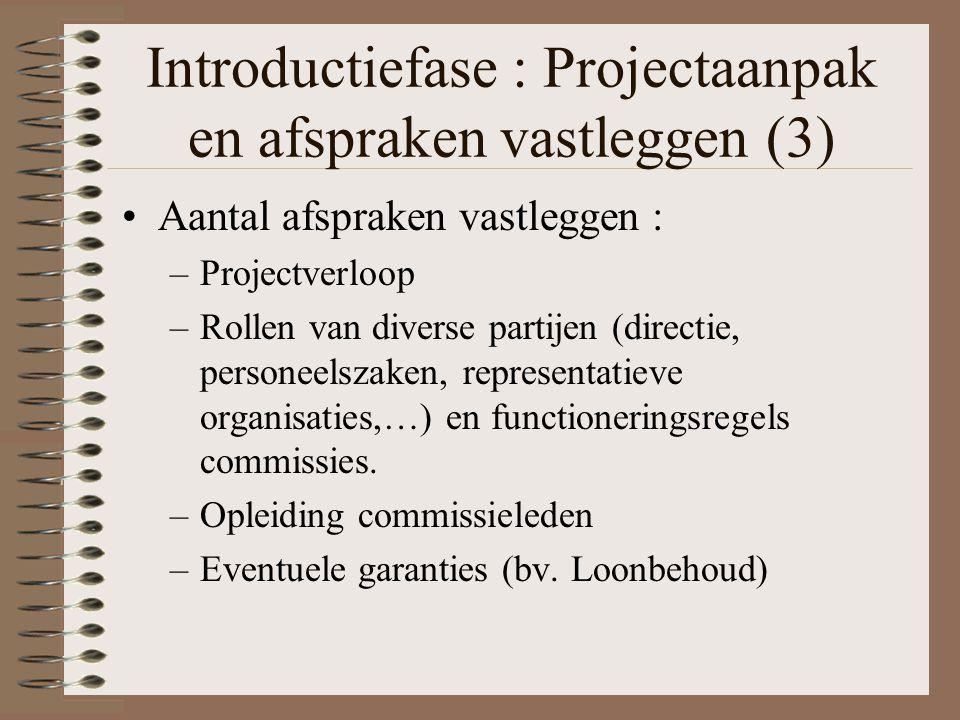 Introductiefase : Projectaanpak en afspraken vastleggen (3) Aantal afspraken vastleggen : –Projectverloop –Rollen van diverse partijen (directie, pers