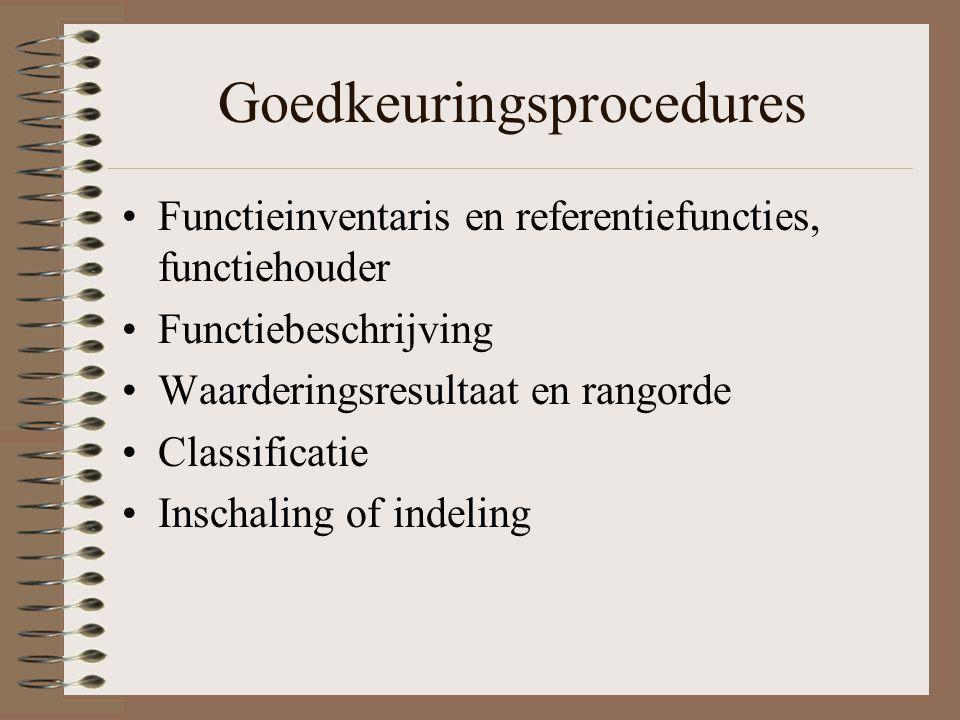 Goedkeuringsprocedures Functieinventaris en referentiefuncties, functiehouder Functiebeschrijving Waarderingsresultaat en rangorde Classificatie Insch