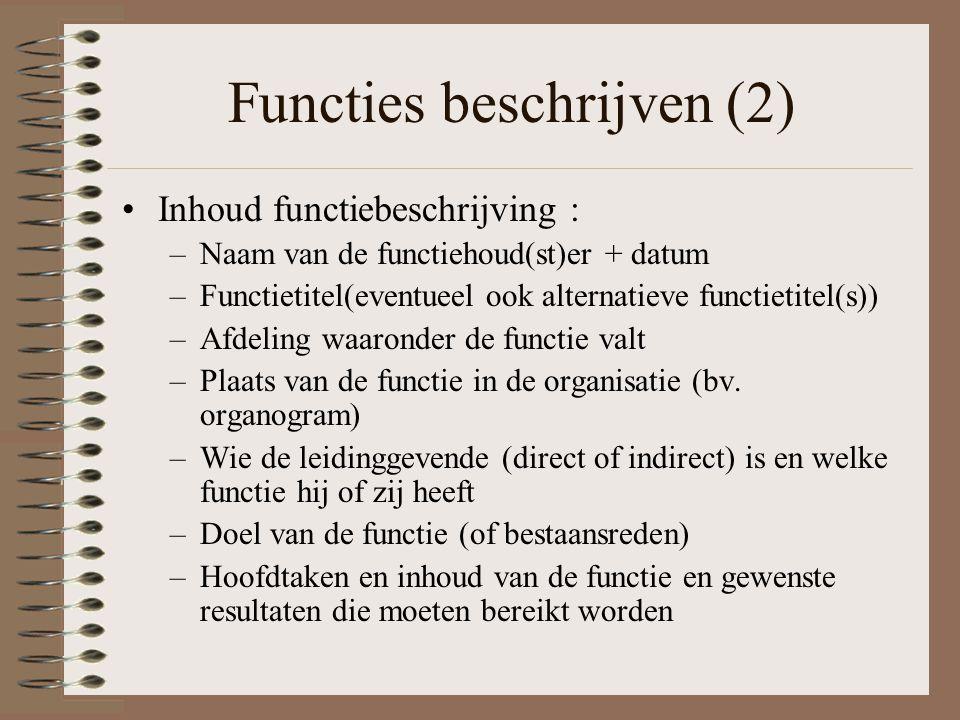Functies beschrijven (2) Inhoud functiebeschrijving : –Naam van de functiehoud(st)er + datum –Functietitel(eventueel ook alternatieve functietitel(s))