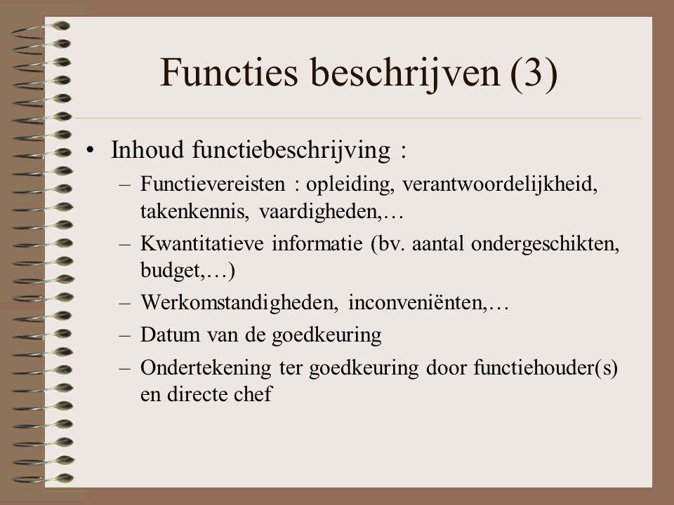 Functies beschrijven (3) Inhoud functiebeschrijving : –Functievereisten : opleiding, verantwoordelijkheid, takenkennis, vaardigheden,… –Kwantitatieve