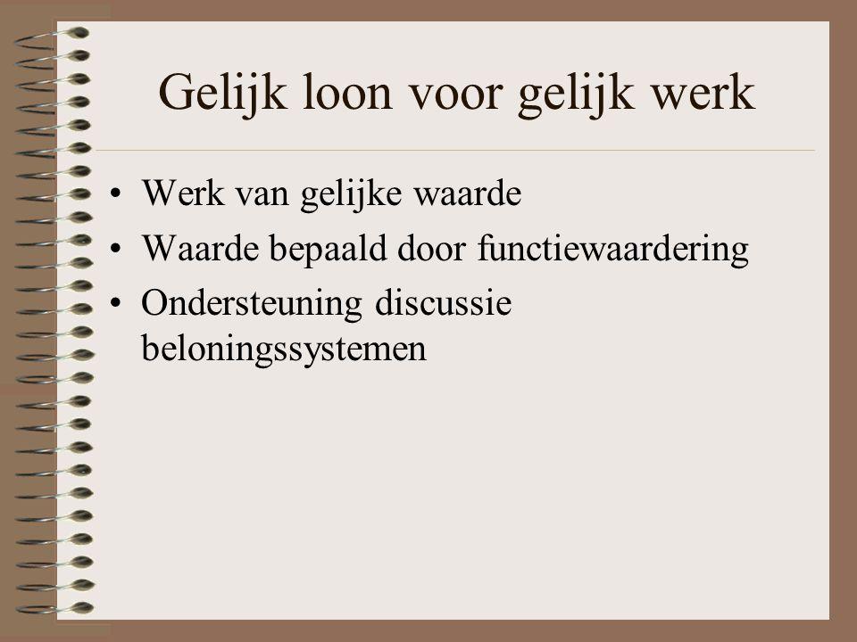 Doel functiewaardering (1) Beloningsbeleid Personeelsplanning Werving en selectie Opleiding Functioneringsgesprekken en personeelsbeoordeling