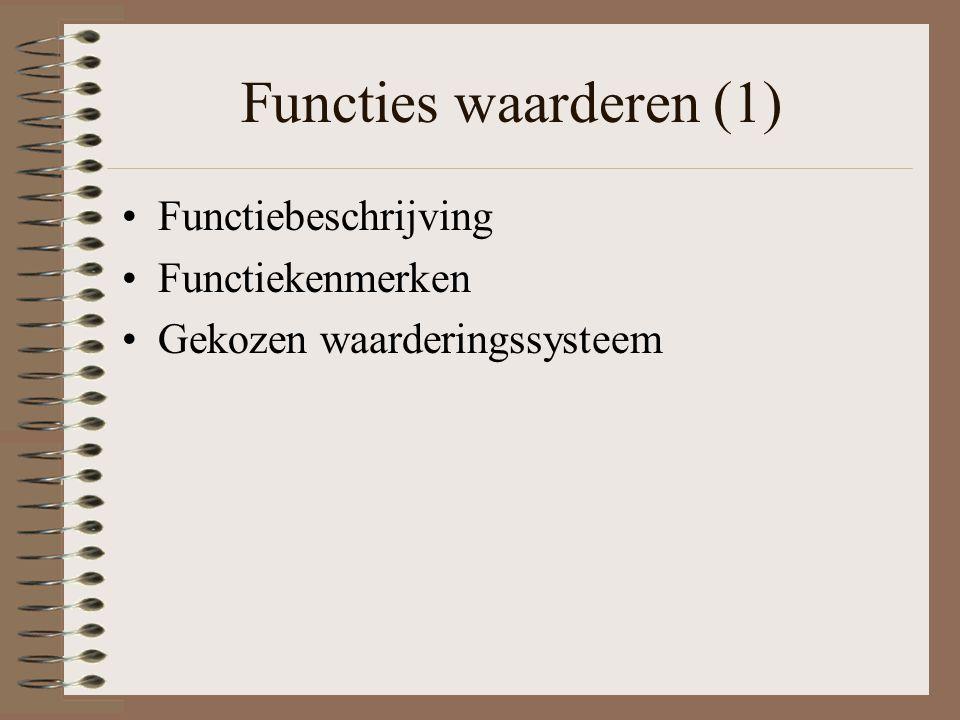 Functies waarderen (1) Functiebeschrijving Functiekenmerken Gekozen waarderingssysteem