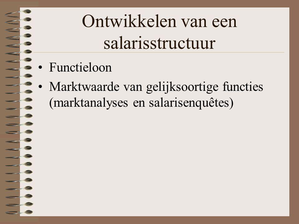 Ontwikkelen van een salarisstructuur Functieloon Marktwaarde van gelijksoortige functies (marktanalyses en salarisenquêtes)