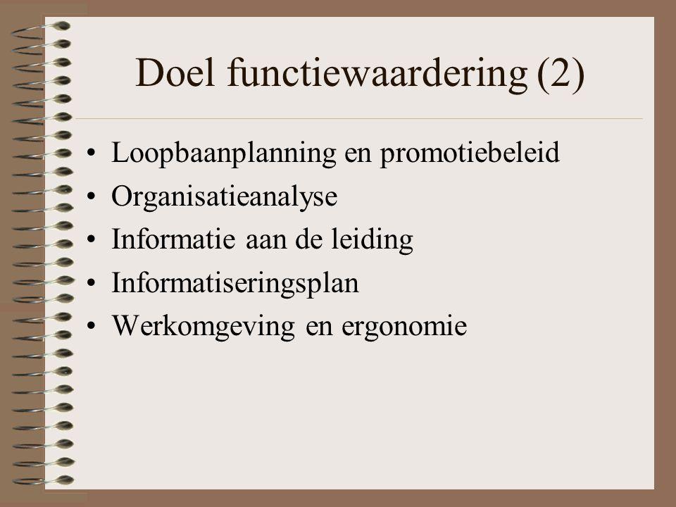 Doel functiewaardering (2) Loopbaanplanning en promotiebeleid Organisatieanalyse Informatie aan de leiding Informatiseringsplan Werkomgeving en ergono