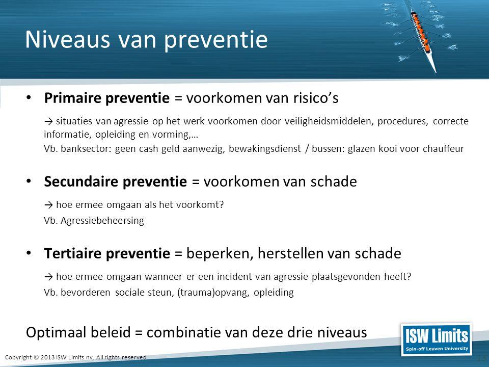 Copyright © 2013 ISW Limits nv. All rights reserved 13 Niveaus van preventie Primaire preventie = voorkomen van risico's → situaties van agressie op h