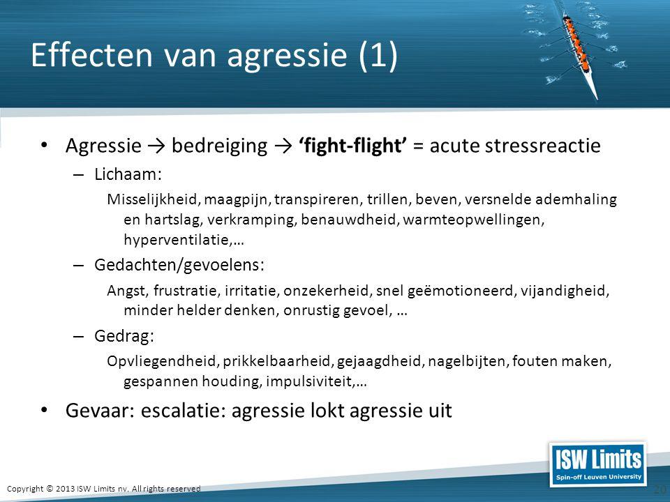 Copyright © 2013 ISW Limits nv. All rights reserved 20 Effecten van agressie (1) Agressie → bedreiging → 'fight-flight' = acute stressreactie – Lichaa