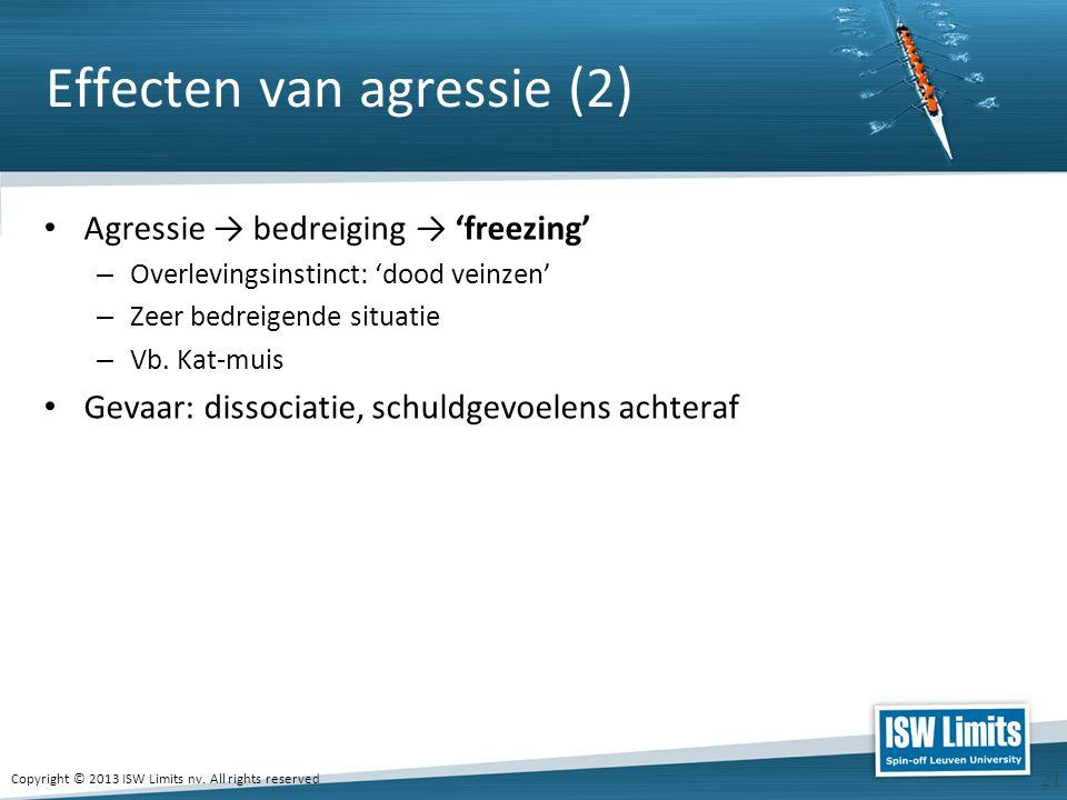 Copyright © 2013 ISW Limits nv. All rights reserved 21 Effecten van agressie (2) Agressie → bedreiging → 'freezing' – Overlevingsinstinct: 'dood veinz