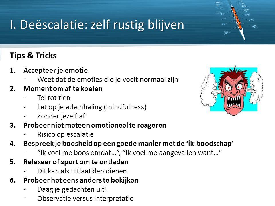 Copyright © 2013 ISW Limits nv. All rights reserved Tips & Tricks 1.Accepteer je emotie ‐Weet dat de emoties die je voelt normaal zijn 2.Moment om af