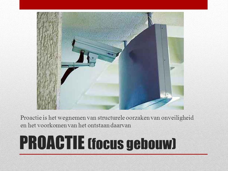 PROACTIE (focus gebouw) Proactie is het wegnemen van structurele oorzaken van onveiligheid en het voorkomen van het ontstaan daarvan