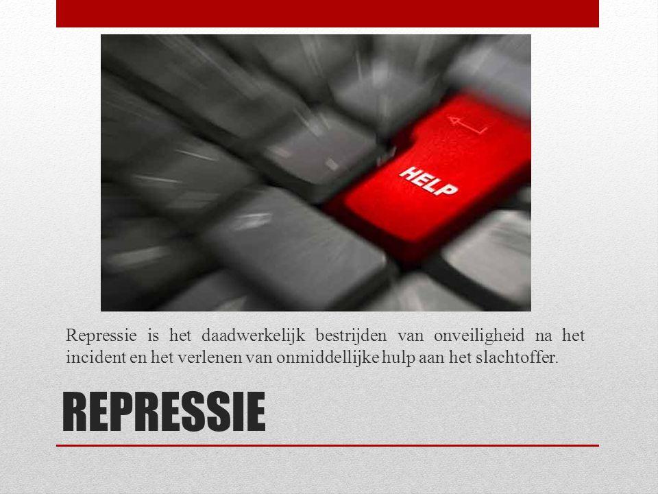 REPRESSIE Repressie is het daadwerkelijk bestrijden van onveiligheid na het incident en het verlenen van onmiddellijke hulp aan het slachtoffer.