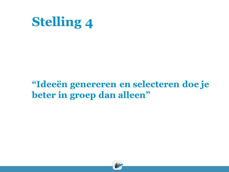 Stelling 4 Ideeën genereren en selecteren doe je beter in groep dan alleen