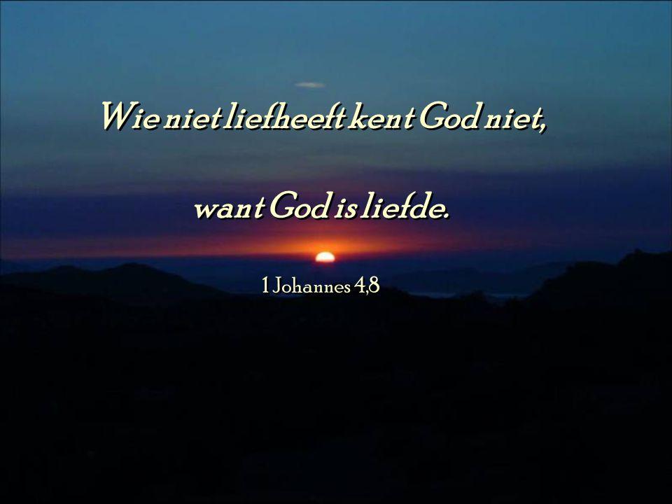 Wie niet liefheeft kent God niet, want God is liefde.