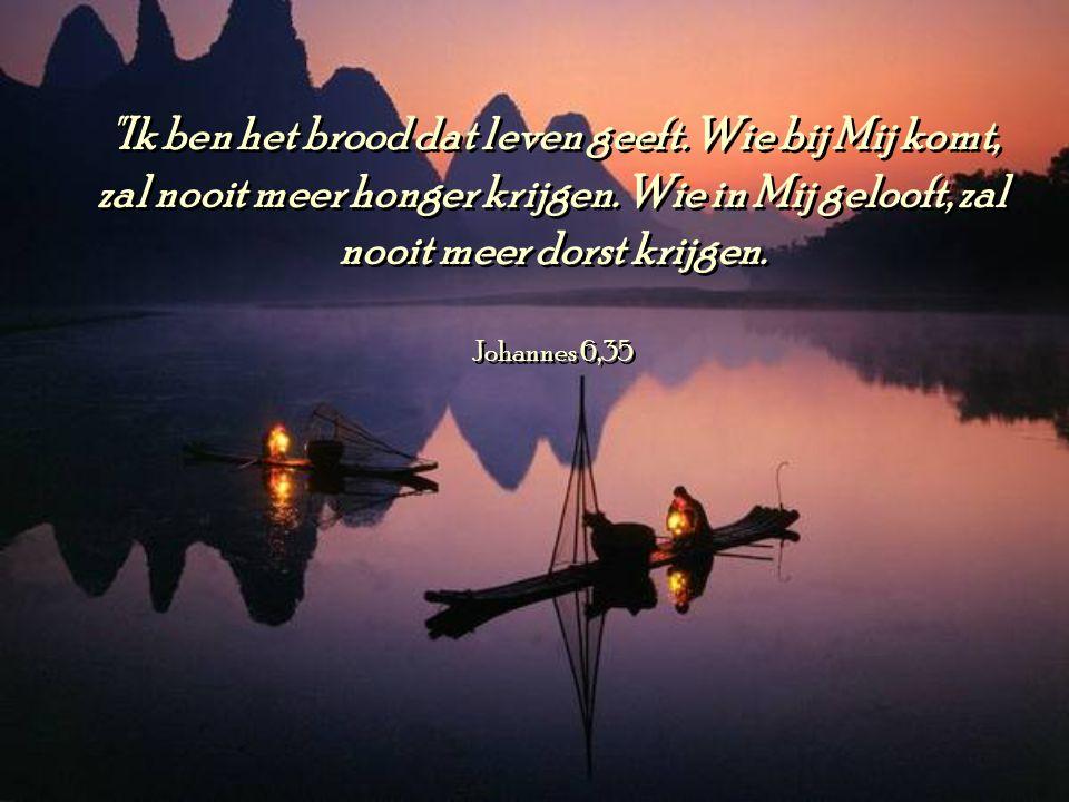 Ik ben het brood dat leven geeft.Wie bij Mij komt, zal nooit meer honger krijgen.