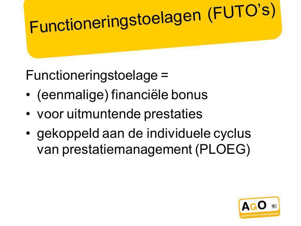 Functioneringstoelagen (FUTO's) Functioneringstoelage = (eenmalige) financiële bonus voor uitmuntende prestaties gekoppeld aan de individuele cyclus van prestatiemanagement (PLOEG)