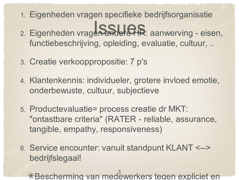 Issues 1. Eigenheden vragen specifieke bedrijfsorganisatie 2.