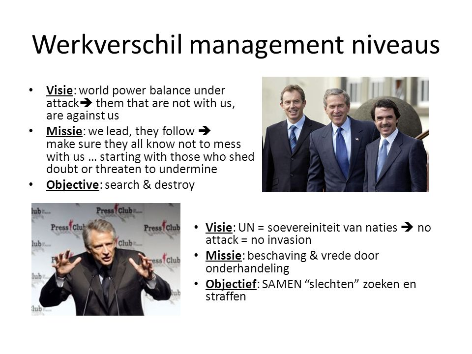 Werkverschil management niveaus Visie: world power balance under attack  them that are not with us, are against us Missie: we lead, they follow  mak