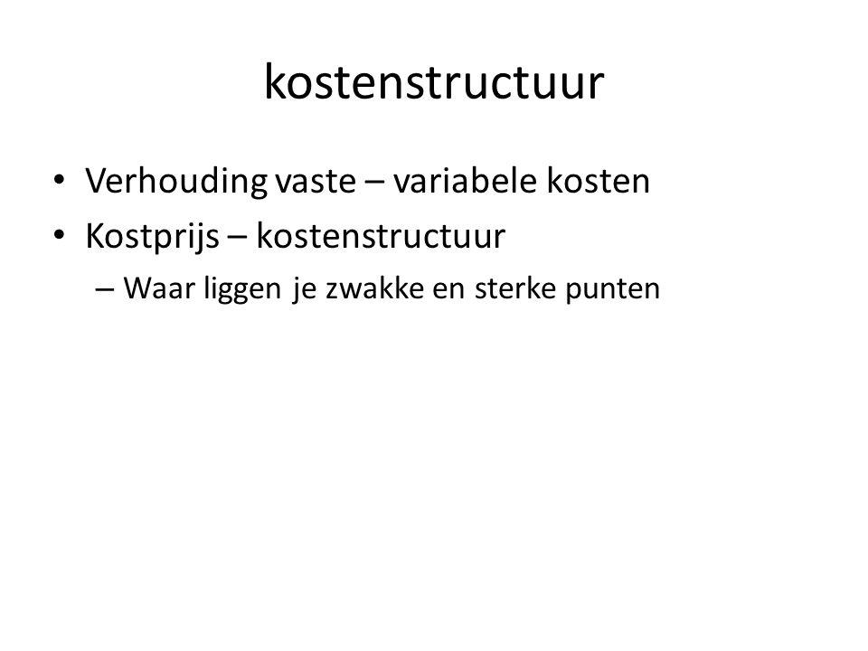 kostenstructuur Verhouding vaste – variabele kosten Kostprijs – kostenstructuur – Waar liggen je zwakke en sterke punten