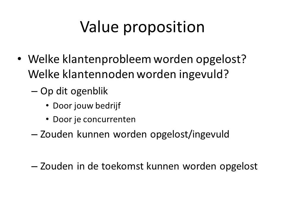 Value proposition Welke klantenprobleem worden opgelost.